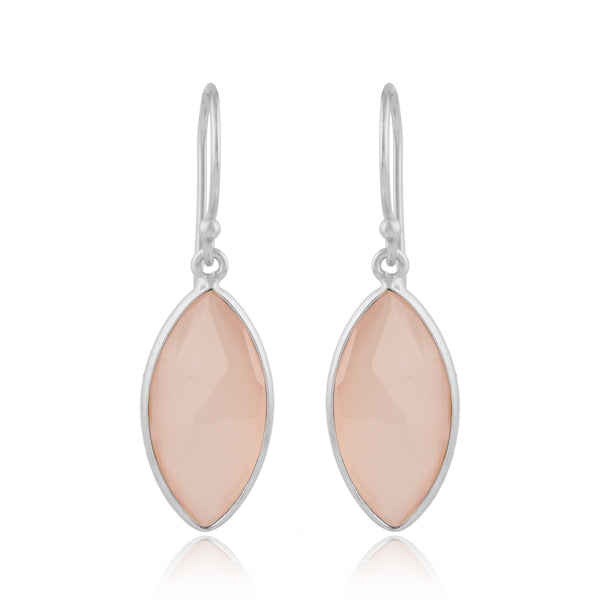 925 Silver Earrings In Candy Design With Rose Chalcedony Gemstone