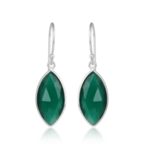 925 Silver Earrings In Candy Design With Green Onyx Gemstone