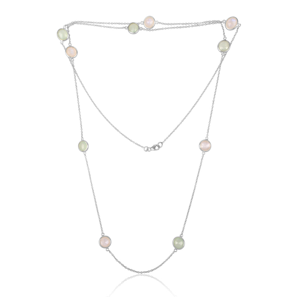 925 Silver Long Necklace With Prehnite Chalcedony and Rainbow Moonstone