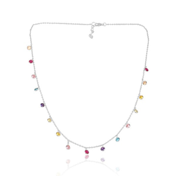 925 Silver Multi Color Choker Necklace With Zirconia Stones