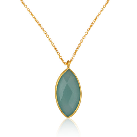 925 Silver Necklace In Candy Design With Aqua Chalcedony Gemstone