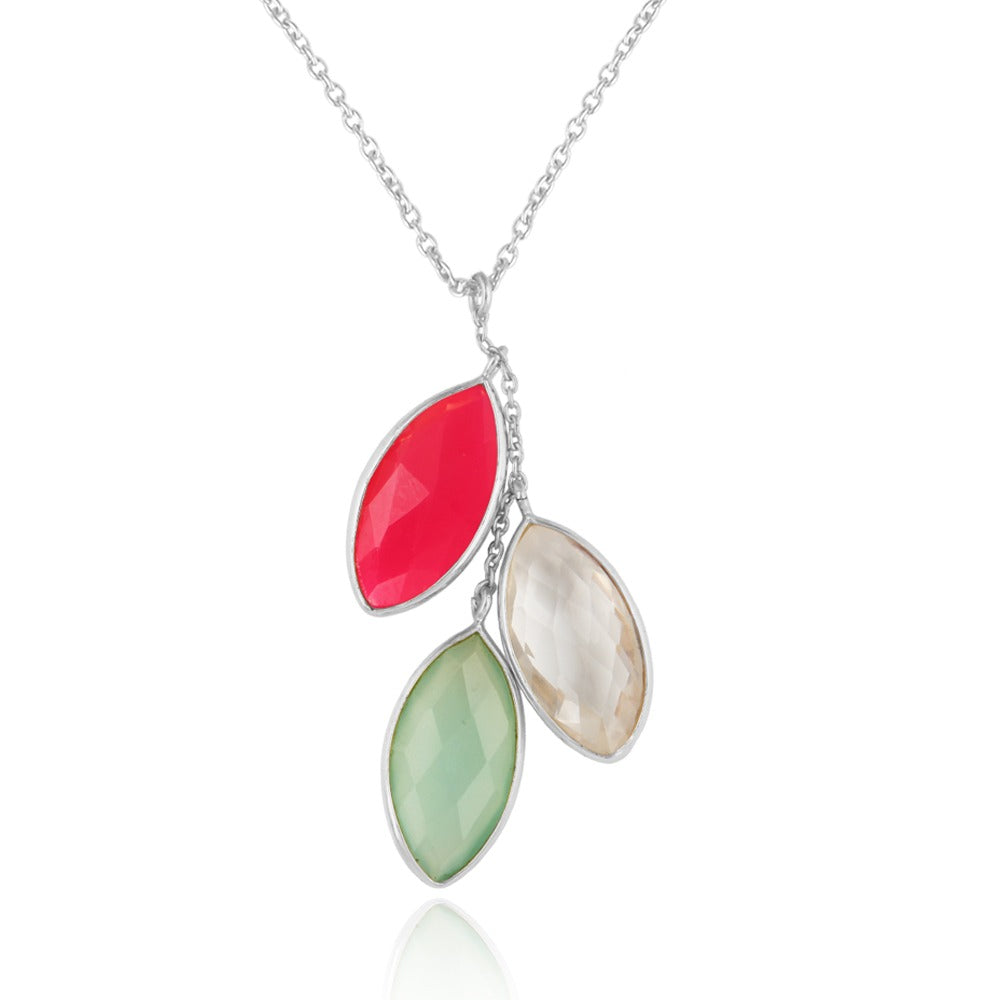 925 Silver Pendant In Three Candy Design with CHALCEDONY Gemstones