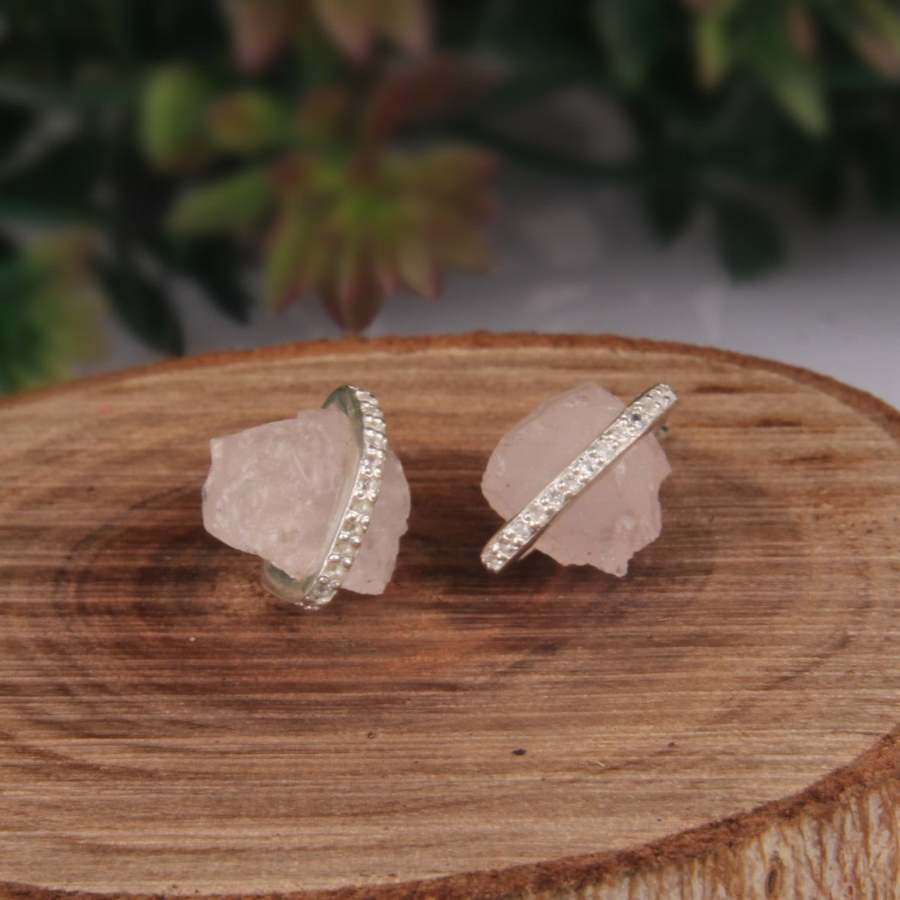 925 Silver Stud Earrings With Raw Rose Quartz Gemstone