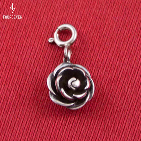 925 Blooming Rose Charm