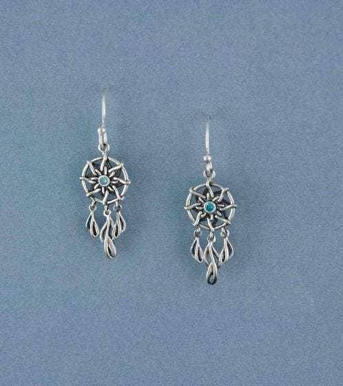 925 Silver Sweet Dreams DreamCatcher Dangler Earrings