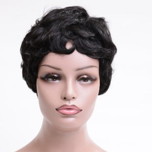 HAIRSASA | Short Curly Afro Wig | 13x4 Lace Front | Synthetic Wig | 150% Density | Black | 2 Inch