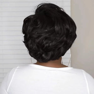 HAIRSASA |Modern Pixie Cut Short Kinky Curly Black Synthetic Hair Wig