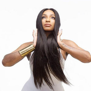 HAIRSASA | Middle Part Straight Wig | 13x4 Lace Front | Synthetic Wig | Black | 20/22/24 Inch