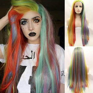 HAIRSASA | Fascinating Rainbow Gradient Long Straight Lace Front Synthetic Hair Wig