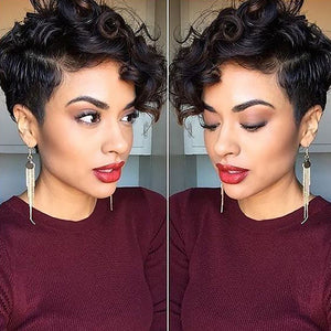 HAIRSASA | Pixie Cut Short Curly Wig | 13x4 Lace Front | Synthetic Wig | 150% Density | Black | 10 Inch