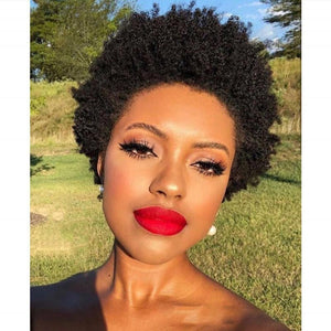 HAIRSASA | Natural Black Short Afro Curly Lace Front Human Hair Wig