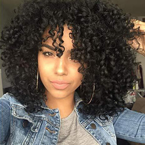 HAIRSASA | Short Kinky Curly Wig | 13x4 Lace Front | Synthetic Wig | 150% Density | Black | 16 Inch