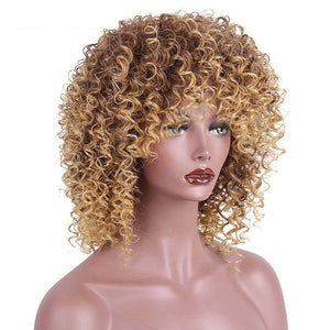 HAIRSASA | Afro Kinky Curly Wig | 13x4 Lace Front | Synthetic Wig | 150% Density | Gold | 16 Inch