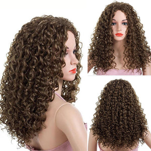 HAIRSASA | Deep Wave Middle Part Wig | 13x4 Lace Front | Synthetic Wig | Black/Brown | 24 Inch
