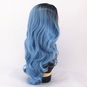 HAIRSASA | Fashion Mid-Point Dyeing Gradient Long Curly Synthetic Hair Wig