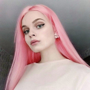 HAIRSASA | Youthful Pink Long Straight Heat Resistant Synthetic Hair Wig