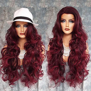 HAIRSASA | Enchanting Wine Red Long Loose Wave Lace Frongt Synthetic Hair Wig