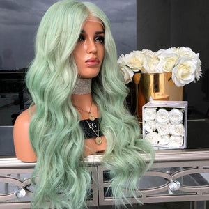 HAIRSASA |Attractive Green Long Loose Wavy Synthetic Hair Wig