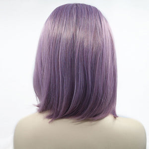 HAIRSASA | Youthful Purple Medium Length Straight Lace Front Synthetic Hair Wig