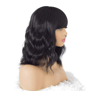 Hairsasa| Modern Natural Black Loose Wave Medium Length Synthetic Hair Wig
