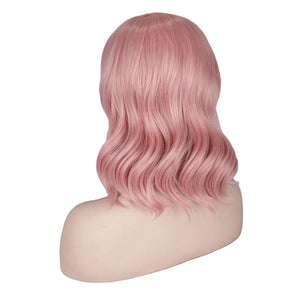 HAIRSASA |Cute Pink Medium Length Loose Wave Synthetic Hair Wig