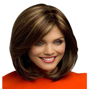 HAIRSASA | Natural Brown Medium Length Straight Heat Resistant Synthetic Hair Wig