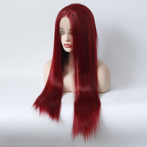HAIRSASA | Middle Part Burgundy Straight Wig | 13x4 Lace Front | Synthetic Wig | Burgundy | 24 Inch