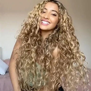 HAIRSASA | Middle Part Curly Deep Wave Wig | 13x4 Lace Front | Synthetic Wig | Gold | 24 Inch