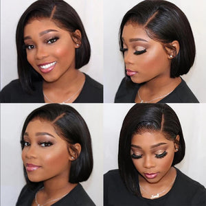 HAIRSASA | Brazilian Short Side Part Bob Straight Wig | 13x4 Lace Front | Human Wig | 150% Density | Black | 8 Inch