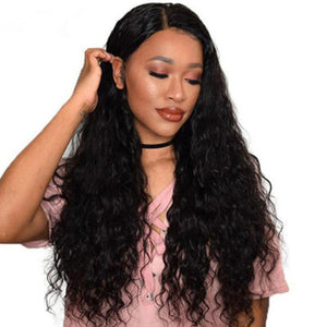 HAIRSASA | Middle Part Water Wave Wig | 13x4 Lace Front | Synthetic Wig | 150% Density | Black | 24 Inch