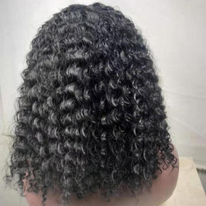 HAIRSASA | Natural Black Medium Length Curly Synthetic Hair Wig