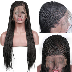 HAIRSASA | Box Braids Wig | 13x4 Lace Front | Synthetic Wig | Black | 18/20/22/24/26 Inch