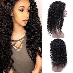 HAIRSASA | Youthful Black Long Water Wave 360 Lace Front Human Hair Wig