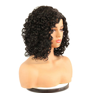 HAIRSASA | Side Part Loose Deep Wave Wig | 13x4 Lace Front | Synthetic Wig | 150% Density | Black/Gold/Burgundy | 16 Inch