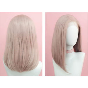 HAIRSASA | Attractive Gray Pink Long Natural Straight Lace Front Synthetic Hair Wig