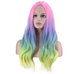 HAIRSASA | Fascinating Rainbow Gradient Long Wavy Synthetic Hair Wig