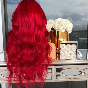 HAIRSASA | Pretty Red Gradient Long Loose Wave Lace Front Synthetic Hair Wig