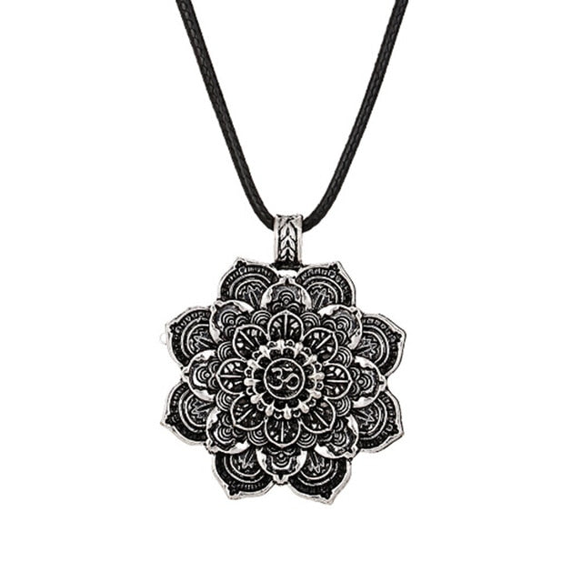 Tibetan Mystic Ohm Lotus Necklace