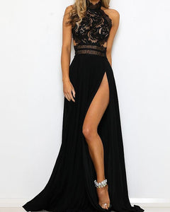 Guipure Lace Halter Open Back Evening Dress