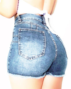 High Waist Ripped Denim Shorts