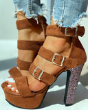 Heeled Sandals Eyelet Buckled Open Toe Chunky