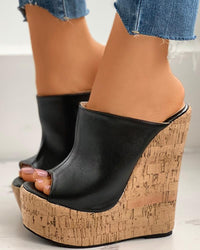 Colorblock Peep Toe Wedge Platform Heel