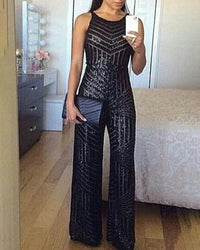 Glitter Round Neck Sleeveless Sequins Jumpsuit