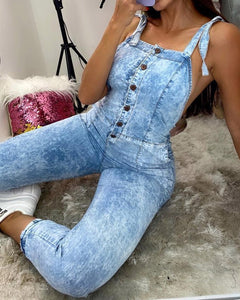 Buttoned Backless Tied Detail Denim Suspender Jumpsuit