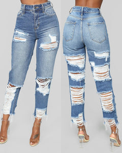 Fringe Hem Ladder Cutout High Waist Jeans