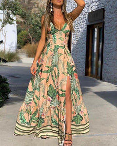 Moda Leaf Print Colorblock High Slit Maxi Dress