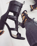 Lace-up Cutout Chunky Heel Sandals 2020