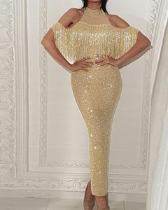 formal dress rental near me Sequined Evening Dress