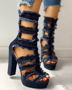 Ladder Cut Out Platform Chunky Heeled Sandals