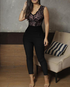 V-Neck Lace Bodice Sleeveless Jumpsuits